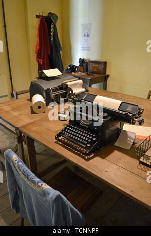 The teleprinter room in Hut 6 at Bletchley Park, Milton Keynes, Buckinghamshire, UK - Stock Image