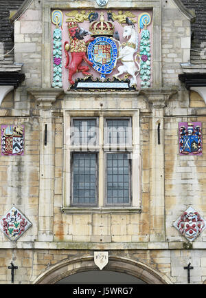 Old guildhall in the market or cathedral square at Peterborough, England. - Stock Image