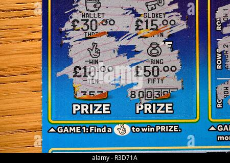 Winning lottery Scratchcard - Stock Image