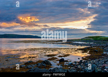 View over Bussesundet from island Vardø in the Varanger-region in arctic Norway at sunset. - Stock Image
