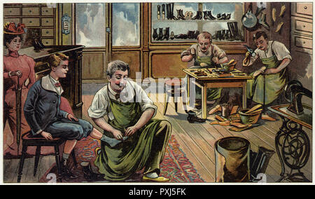 The interior of a shoe shop, with shoes made by hand. A boy has his feet measured while his mother looks on.      Date: circa 1895 - Stock Image