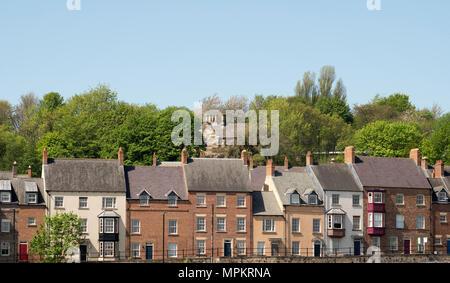Recently built Georgian style townhouses in Framwellgate Peth, Highgate, Durham City, England, UK - Stock Image