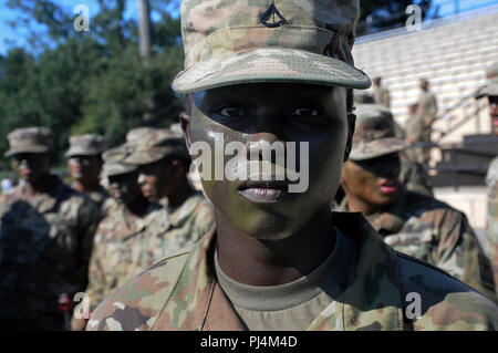A 244th Quartermaster Battalion Soldier awaits her team's turn during the 23rd Quartermaster Brigade Drill and Ceremony Competition Aug. 23 at Fort Lee. - Stock Image
