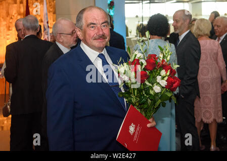 Riga, Latvia. 8th July 2019. Ivars Bickovics, The Chief Justice of the Supreme Court of the Republic of Latvia, during Reception in honour of the inauguration of President of Latvia Mr Egils Levits accompanied by First Lady of Latvia Mrs Andra Levite. Credit: Gints Ivuskans/Alamy Live News - Stock Image