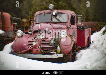 A faded red 1941 Dodge fire truck, behind a barn, in a wooded area of Noxon, Montana.   This image was shot with an antique Petzval lens and will show - Stock Image