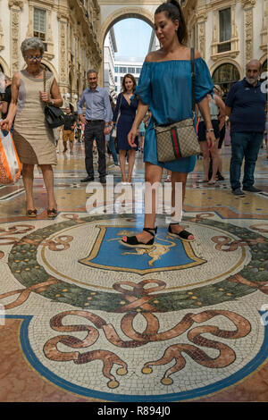 Vertical view inside Galleria Vittorio Emanuele II in Milan, Italy. - Stock Image