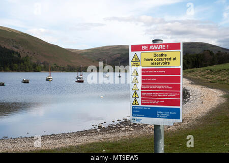 A Scottish Water safety warning notice at St Mary's Loch Sailing Club, near Moffat, Dumfries and Galloway, Scotland, UK - Stock Image