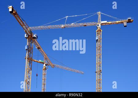 Construction, construction cranes, Amsterdam, The Netherlands, Dutch, - Stock Image