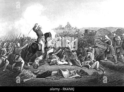 HENRY HAVELOCK (1795-1857)  British Army General. His forces attacking those of Nana Sahib at Futtyporer (Fatephur) in 1857 during the Indian Mutiny. - Stock Image