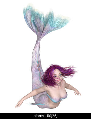 Pretty Pink and Blue Mermaid Swimming Forwards - Stock Image