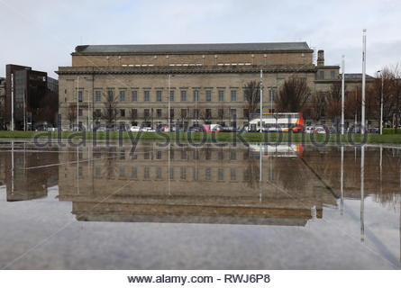 Caird Hall and St Pauls Cathedral from Slessor Gardens Dundee Scotland  March 2019 - Stock Image