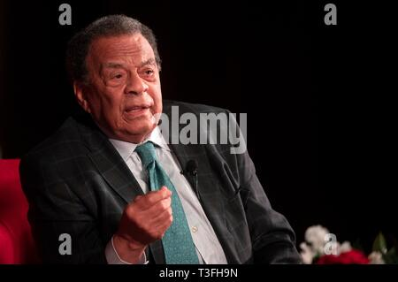 Texas, USA. 08th Apr, 2019. Longtime civil rights leader Amb. Andrew Young discuss social justice efforts during the Summit on Race in America at the LBJ Presidential Library April 8, 2019 in Austin, Texas. Young, a key lieutenant to Martin Luther King, Jr. in the civil rights movement of the 1960s, has served as mayor of Atlanta, U.S. congressman from Georgia, and U.S. Ambassador to the United Nations. Credit: Planetpix/Alamy Live News - Stock Image