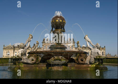 The Atlas Fountain in the gardens of Castle Howard in North Yorkshire - Stock Image