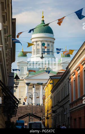 Helsinki city architecture, view of the Lutheran Cathedral (Tuomiokirkko) sited north of Sofiankatu street in the Old Town quarter of Helsinki,Finland. - Stock Image