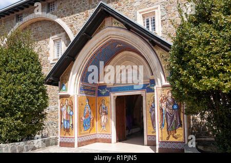 Entrance to Kykkos Monastery, Kykkos, Troodos Mountains, Limassol District, Republic of Cyprus - Stock Image