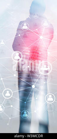 Vertical Panorama Banner. Double exposure people network structure HR - Human resources management and recruitment concept. - Stock Image