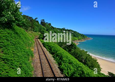 Railway Branch Line to St Ives,Carbis Bay,Cornwall,England,UK - Stock Image