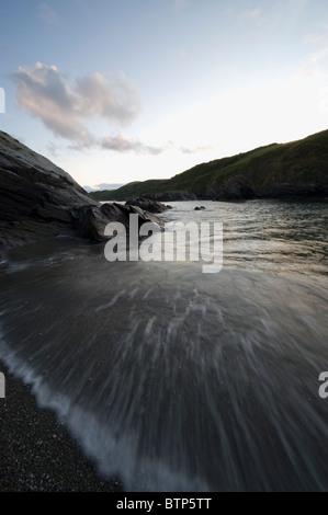 Lansallos Beach, Dusk,  Cornwall, UK. - Stock Image