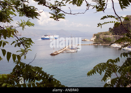 Boats in the Ionian Sea, Kerkyra, Corfu, Greece, express lines feax ferry boat yacht sailing sail moored mooring - Stock Image
