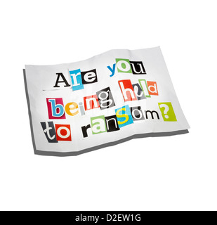 A ransom note on a white background with graphic holding shadow - Stock Image