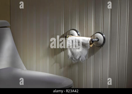 Last Sheet Of Toilet Paper On Roll In Bathroom - Stock Image