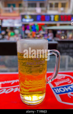 Glass of local beer, Street 136, Riverfront area, Phnom Penh, Cambodia, Asia - Stock Image
