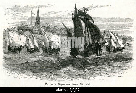 Jacques Cartier departs from St. Malo France, to sail for the Iroquoian capital Stadacona, with two Iroquoian captives he had taken during his previous expedition. - Stock Image