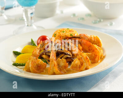 Shrimp with Spanish Rice - Stock Image