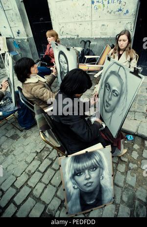 Paris France, Artists in Montmartre paint portraits in 1977 - Stock Image