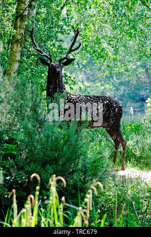 life size metal stag, pensthorpe nature reserve, norfolk, england - Stock Image
