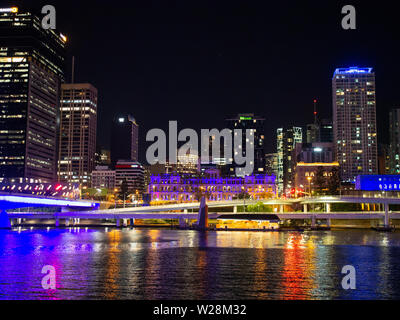 Brisbane City And Brisbane River At Night - Stock Image
