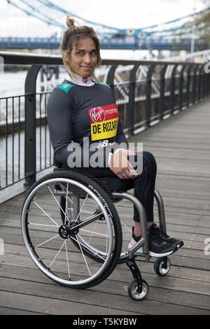 London, UK. 25th Apr 2019. Madison de Rozario(AUS)attends The London Marathon Wheelchair Athletes Photocall which took place outside the Tower Hotel with Tower Bridge in the background ahead of the Marathon on Sunday. Credit: Keith Larby/Alamy Live News - Stock Image