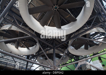 Industrial turbines hong kong waste management site - Stock Image