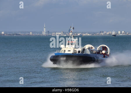 Freedom 90 hovercraft crossing the Solent from Southsea near Portsmouth to Ryde on the Isle of Wight. Operated by - Stock Image