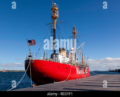 Lightship WLV-612 (Nantucket Lightship) moored in Boston Harbour, - Stock Image