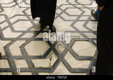 Floor of the Blue Mosque in Istanbul, Turkey. More than 32 million tourists visit Turkey each year. - Stock Image