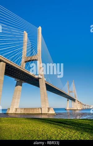 Vasco da Gama Bridge, Lisbon, Portugal - Stock Image