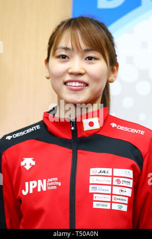 Ajinomoto National Training Center, Tokyo, Japan. 19th Apr, 2019. Sera Azuma (JPN), APRIL 19, 2019 - Fencing : Japan National Team Training Session at Ajinomoto National Training Center, Tokyo, Japan. Credit: Naoki Nishimura/AFLO SPORT/Alamy Live News - Stock Image