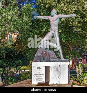 Enea statue, Lower Barrakka Gardens, Valletta, Malta - Stock Image