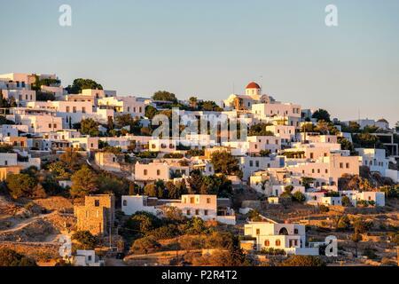 Greece, Dodecanese archipelago, Patmos island, Chora village at sunset - Stock Image