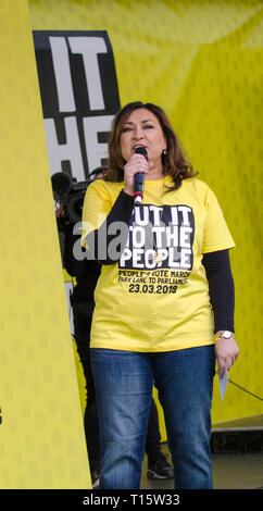 London, UK. 23rd Mar, 2019. Ayesha Hazareka, former special adviser to the Labour party, comedian and broadcaster speaking at the People's Vote March and rally, 'Put it to the People.' Credit: Prixpics/Alamy Live News - Stock Image