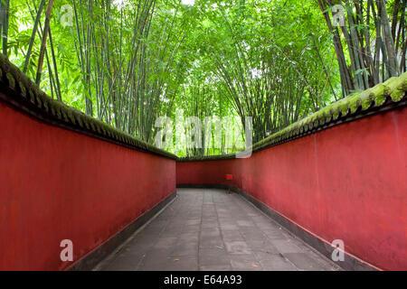 Walkway with bamboo canopy, Wuhou Shrine, Chengdu, Sichuan, China - Stock Image