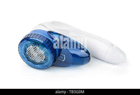 Blue plastic electric fabric shaver isolated on white - Stock Image