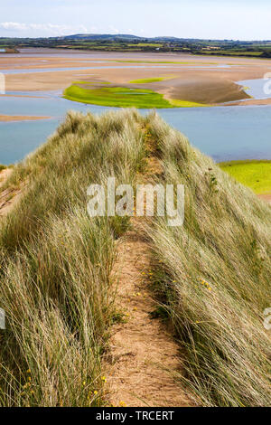 View to Tramore Lagoon from the sandy hills known as Tramore Burrows.County Waterford,Ireland. - Stock Image