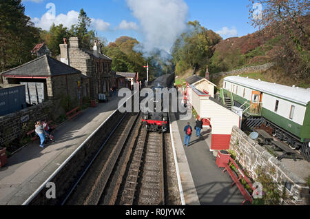 Steam train arriving at the station Goathland North York Moors North Yorkshire England UK United Kingdom GB Great Britain - Stock Image