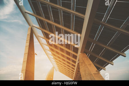 Close-up view of modern solar photovoltaic panel, huge solar battery in Forum district zone, Barcelona, Spain, wide - Stock Image