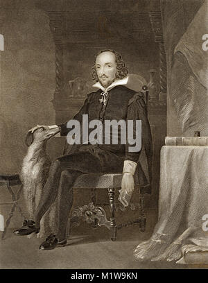 Engraving of William Shakespeare. From the Illustrated Complete Works of Shakespeare, 1878 - Stock Image