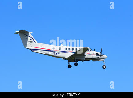A Beechcraft Model 200 Super King Air on approach to RAF Lossiemouth airfield on the North East coast of Scotland. UK - Stock Image