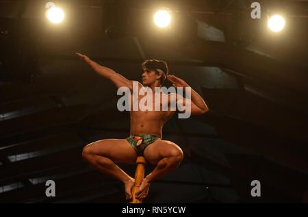 Mumbai, India. 16th Feb, 2019. A gymnast performs at the Mallakhamb World Championships in Mumbai, India, Feb. 16, 2019. Mallakhamb is a traditional Indian sport in which gymnasts perform feats and poses in concert with a vertical wooden pole or rope. Credit: Stringer/Xinhua/Alamy Live News - Stock Image