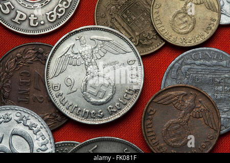 Coins of Nazi Germany. Nazi eagle atop swastika depicted in the German two Reichsmark coin (1939). - Stock Image